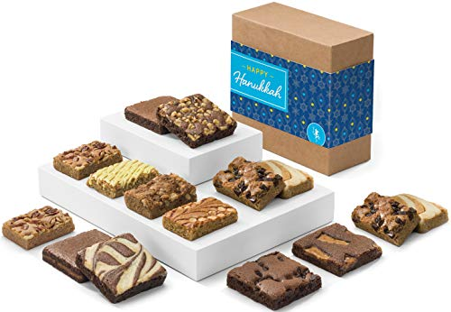 Fairytale Brownies Hanukkah Bar & Brownie Combo Gourmet Chocolate Kosher Food Gift Basket - 3 Inch Square Full-Size Brownies and 3 Inch x 2 Inch Blondie Bars - 15 Pieces - Item CK381