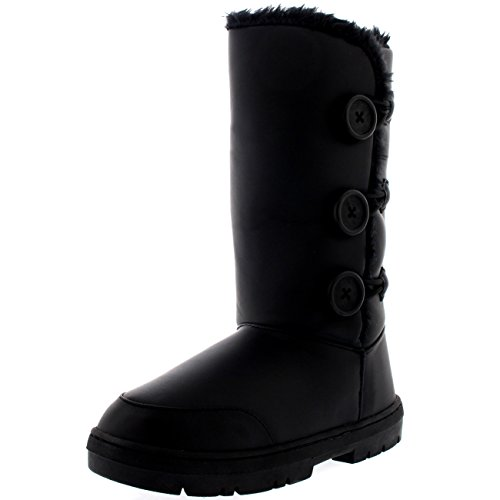 Womens Triplet Button Waterproof Winter Snow Boots - 9 - BLL40 EA0285 (Boots Snow Rain Winter)