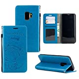 Ostop Samsung Galaxy S9 Plus Wallet Case,Blue PU Leather Case,Cute Cat Love Fish Embossed Printed Stand Purse Cover with Credit Card Slots Magnetic Flip Full Body Protection Shell