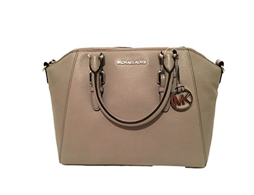 Large Silver Hardware - Michael Kors Ciara Large Top Zip Satchel (Pearl Grey)