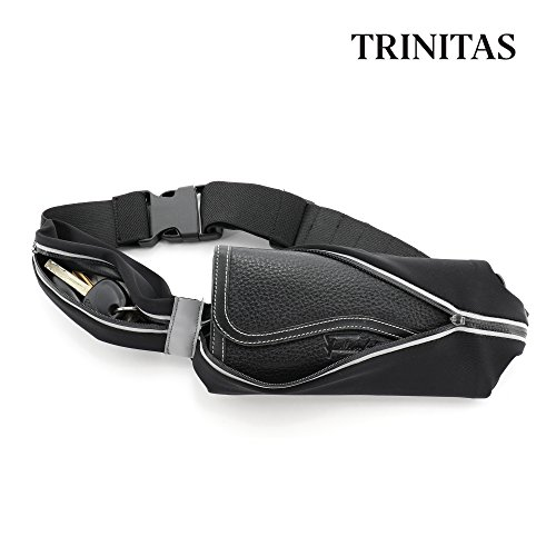 TRINITAS STYLISH Water proof reflective Sports Running Belt- Quick buckle Fanny Pack - Elastic Money Belt for big phones like iPhone 7 plus - adjustable belt from XS to XL (Black) by Trinitas Sports (Image #2)