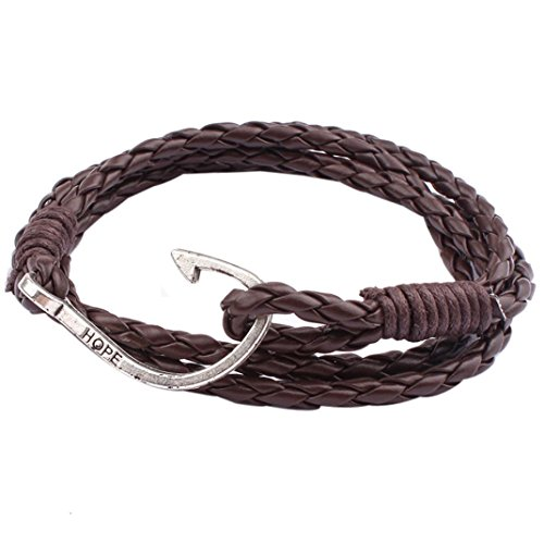 Molyveva Mens Womens Teens Braided Bangle Leather Bracelet Fish Hook Rope Novelty Bracelet Jewelry (Dark Brown) -