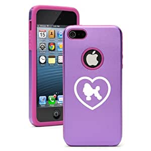 Apple iPhone 5c Purple CD4758 Aluminum & Silicone Case Cover Poodle Heart