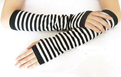 MINID womens warm Stripe long fingerless gloves(GL18)