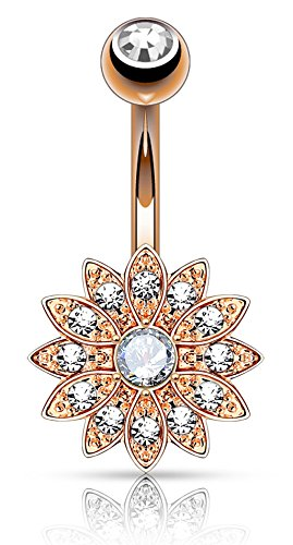 (Forbidden Body Jewelry Rose Gold IP Plated Surgical Steel Crystal Paved Petite Flower Belly Ring with Crystal Center )
