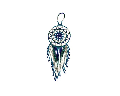 Mia Jewel Shop Multicolored Seed Bead Dream Catcher Star Beaded Dangle Fashion Handmade Ornament Traditional Native Home Décor Wall Hanging Decoration (Turquoise/Teal/Silver)