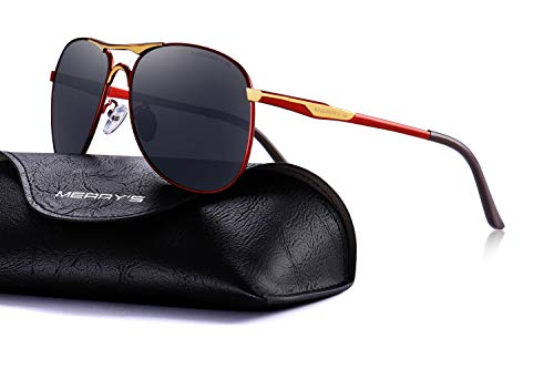 - MERRY'S Driving Polarized Sunglasses for Men Defending Coating Lens Driving Shades S8712 (Gold&Red, 62)