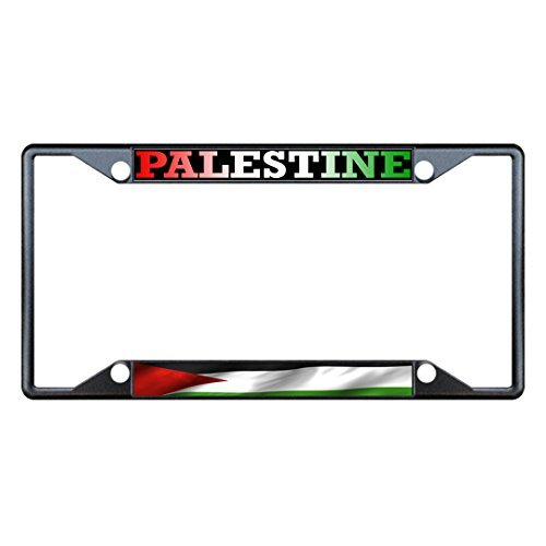 License Plate Covers Palestine Wavy Flag Black Metal License Plate Frame Tag Holder Four Holes Jesus Collector Plate