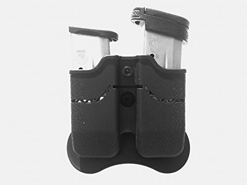 RY Enterprise S&W M&P Shield 1911 Single Stack Paddle Double Magazine Holster with Retention Adjustable & 360 Degree Rotation - Polymer Black