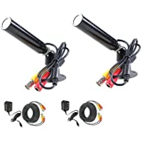 2 Pack CCTV Outdoor Bullet Surveillance Security Cameras Built-in SONY CCD Wide Angle Lens with Power Supplies and Video Power Cables