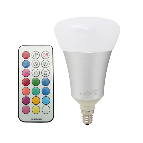 LJY E12 Candelabra Base A19 10W RGBW LED Color Changing & Pure White Light Bulb AC 85-265V w/ IR Remote Control & Custom Timing Setting (Blue Light Chandelier compare prices)