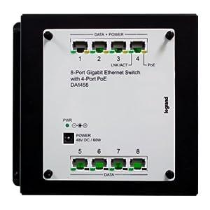 On-Q DA1458 8Port Gigabit Switch with PoE, Platinum Grey