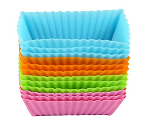 Bakerpan Silicone Mini Cake Holders, Mini Loaf Cup, Rectangle Shape, 12 Pack ()