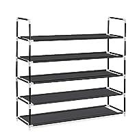 HERRON 5 Tier Shoe Rack 25 Pairs Metal Shoe Tower Shelf Organizer Cabinet for Bedroom Saving Storage