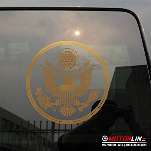 3S MOTORLINE Great Seal of United States Decal Sticker US Car Vinyl pick size color no bkgrd (gold, 8'' ()