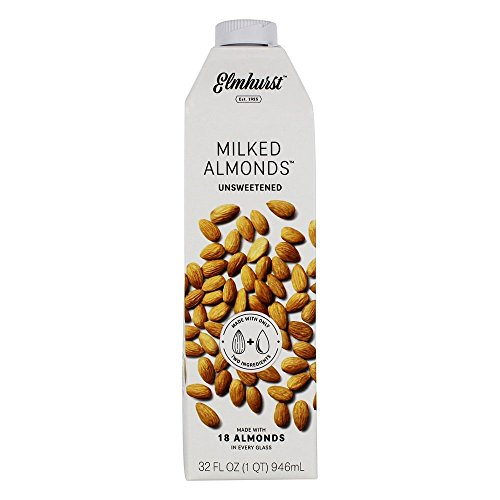 Elmhurst Unsweetened Milked Almonds 32 oz. Creamy & Delicious Almond Milk. More Nuts! More Nutrition! Gluten Free, Lactose Free, Vegan Beverage.