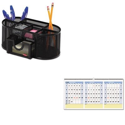 KITAAGPM1528ROL1746466 - Value Kit - At-a-Glance QuickNotes Three-Month Horizontal Wall Calendar (AAGPM1528) and Rolodex Mesh Pencil Cup Organizer (ROL1746466)