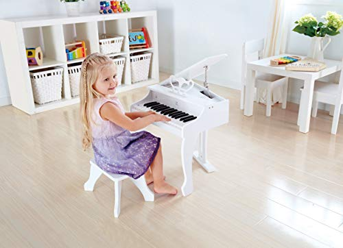 Hape Deluxe White Grand Piano | Thirty Key Piano Toy with Stool, Electronic Keyboard Musical Toy Set for Kids 3 Years+ by Hape (Image #3)