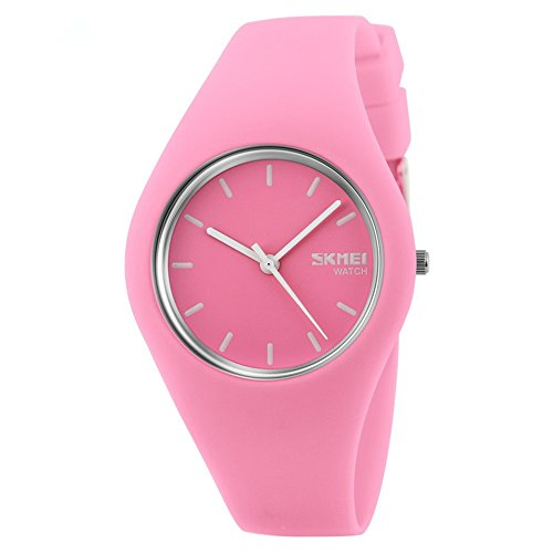 Skmei Fashion Trends Korean Version of The Silica Gel Quartz Ultra-Thin fine Gift Watches(12 Styles) (Pink) by SKMEI (Image #1)