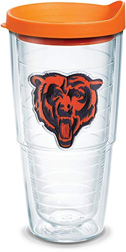 (Tervis 1039091 NFL Chicago Bears Bear Tumbler with Emblem and Orange Lid 24oz, Clear)