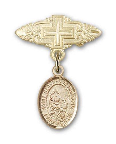 Icecarats Or Bijoux De Créateurs Rempli R. Bernard De La Broche De Badge Charme Montjoux Avec Croix 1 X 3/4