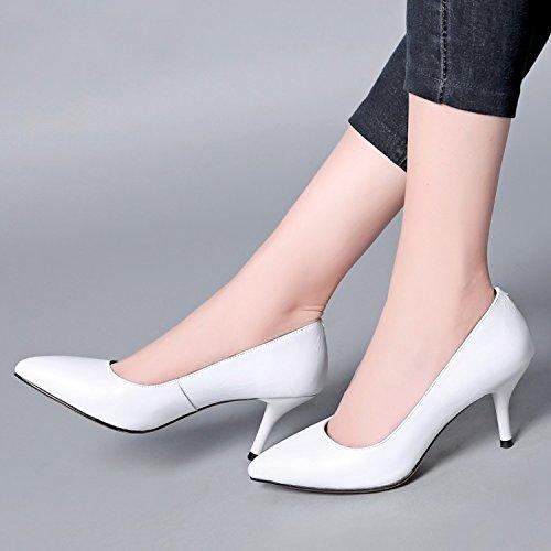 cm Treinta 36 boca cabeza puntiaguda puntiaguda Sandalias AJUNR de Zapatos Cabeza Transpirable de y elegante superficial mujer blanco fino alto 7 tacón Moda tacon zapatos cuatro zapatos gUqgw6