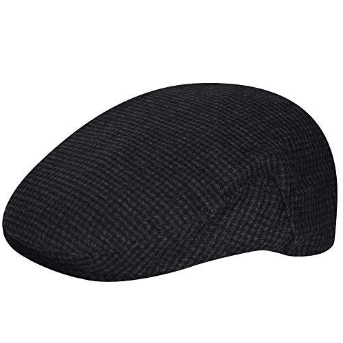 Country Gentleman Men Wool Blend British Ivy Cap Charcoal Check Xl