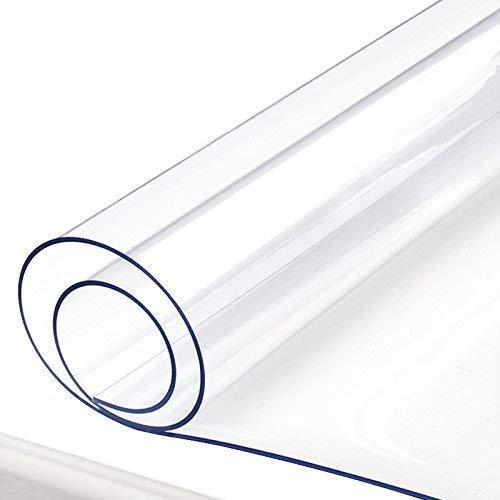 Clear Desk Blotter Mat Table Protector Vinyl Plastic Tablecloth Liner Cover Wipeable Easy Clean Protective Pad Eco PVC Furniture Coffee Accent Dining Conference Tabletop Heat Resistant 44 x 108