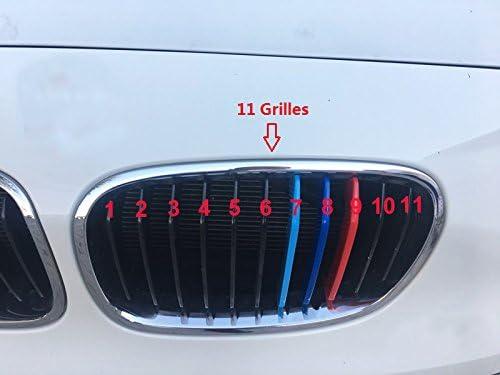 Inserti per griglia per BMW Serie 1 F20 F21 116i 118i 2012-2014 Dinuoda 11 griglia Strisce per griglia anteriore centro renale 3 pezzi