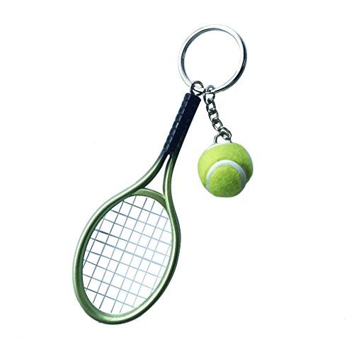 Mini-Tennisball Schläger Anhänger Schlüsselring Geschenk - Lila - Grün