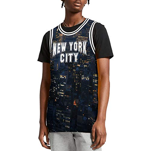 SUNIE Mens 3D Printed York City NYC Retro Graphic Basketball Jerseys Tank Top Vest -