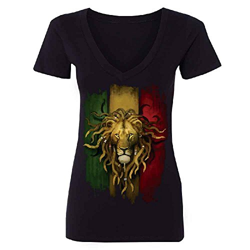 Rasta Lion Rastafarian Haile Selassie Women's Deep V-neck Fashion Quality Tee Black (Selassie Halloween)