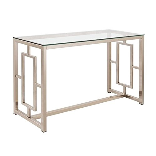 Bowery Hill Contemporary Glass Top Console Table in Satin Nickel For Sale