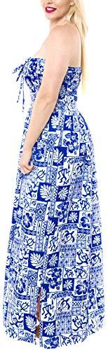 Ropa Likre Maxi Largo Mujeres Encubrir Tubo Playa de de Largo Las Corte Halter i648 LEELA Vestido LA Suave Azul OCqxIapwC