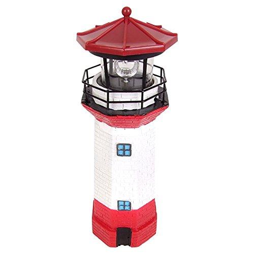 Buri Solar-Leuchtturm 27,5cm mit rotierendem LED Licht Gartenleuchte Terrassendeko