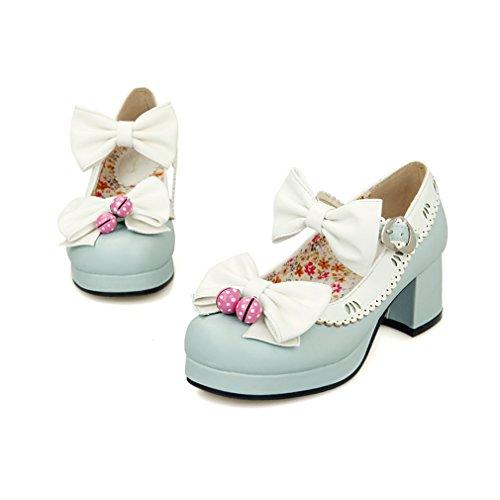 YE Damen Ankle Strap Rockabilly Pumps Chunky Heels Plateau mit Riemchen und Schleife Elegant Süß Schuhe Blau