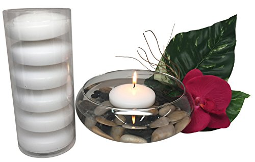 Floating Candles Unscented Discs for Wedding, Pool Party, Holiday & Home Decor, 3 Inch, White Wax, Bulk Set of 24 by Royal Imports