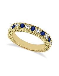 Antique Ancient Diamond and Blue Sapphire Wedding Ring Filigree 18 karat White Gold GH/VS
