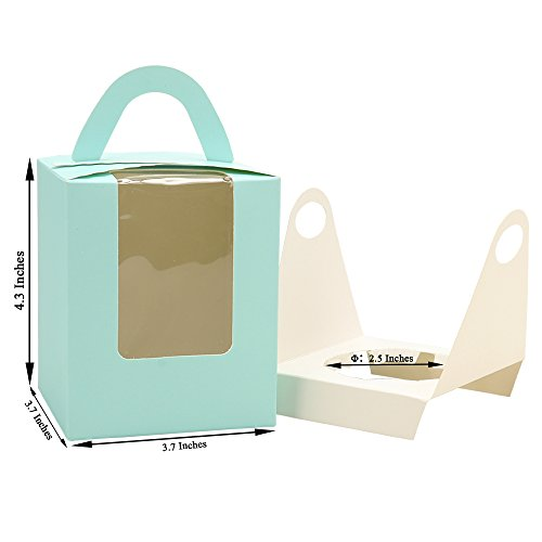 Cupcake Box Clear Display Window with Strong Handle and Secure Insert Bakery Box Holder Single Cupcake Carrier Individual Cake Container for Parties and Events (25, Blue) ()