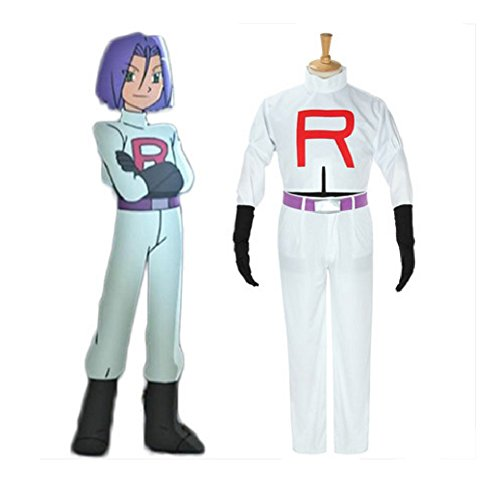 Men's Pokemon Team Rocket James Cosplay Costume-Male-XX-Large