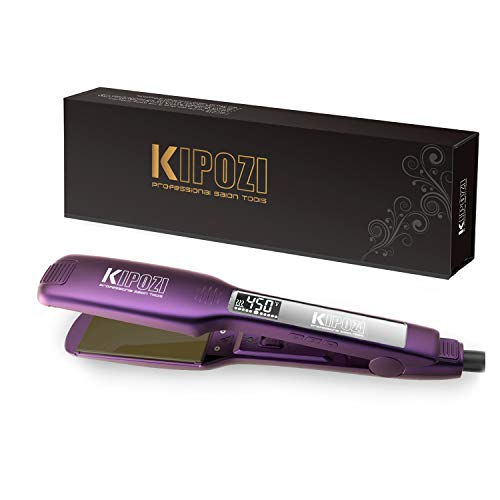 Lcd Ceramic Hair Curling Iron - KIPOZI Pro Flat Iron with 1.75 Inch Titanium plates Hair Straightener Adjustable Temperature settings Suitable for All Hair Heats Up Fast, Dual Voltage,Purple