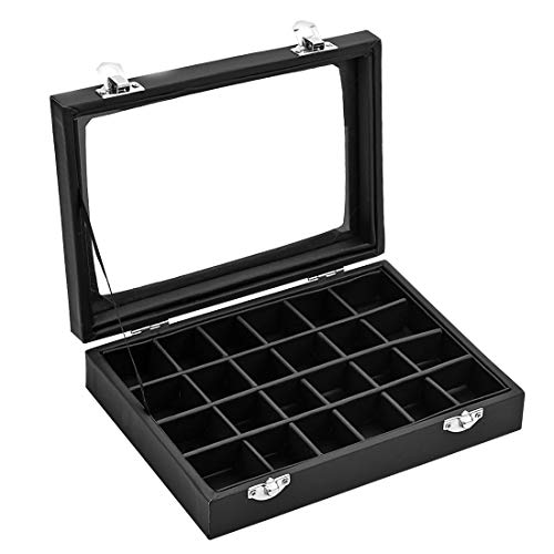 Ivosmart 24 Slot PU Leather Jewelry Ring Display Organiser Case Tray Holder Earrings Storage Box (Black) ()