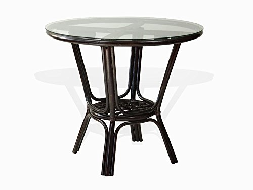 Pelangi Dining Natural Rattan Wicker Handmade Round Table Glass Top , Dark Brown (Dining Room Rattan End Table)