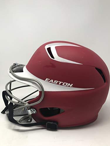 - Easton Two-Tone Natural Grip Senior Batting Helmet with Mask, Red/White