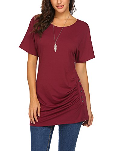 Qearal Dolman Top with Side Shirring Oversized Batwing Sleeve Womens Tops Wine Red M