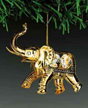 - Elephant 24K Gold Plated Swarovski Crystal Ornament New