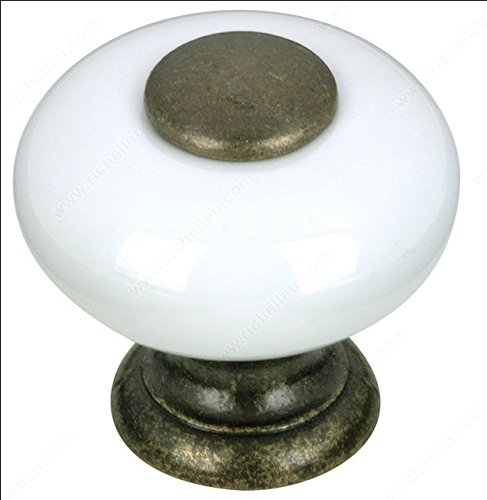 Richelieu New Expression Collection Classic Metal & Ceramic Knob 1' - BP500330 - White
