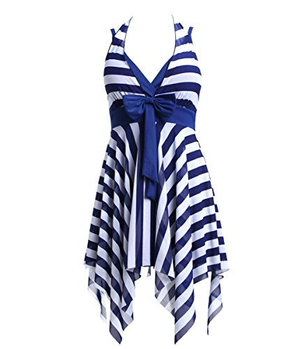 BIKMAN Navy Blue White Stripes Swim Dress Swimwear One Piece Swimsuit (10-12) (Bathing Suits That Cover Thighs And Stomach)