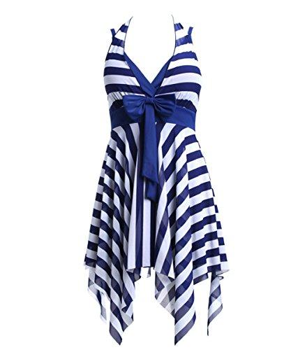 BIKMAN Navy Blue White Stripes Swim Dress Plus Size Swimwear One Piece Swimsuit