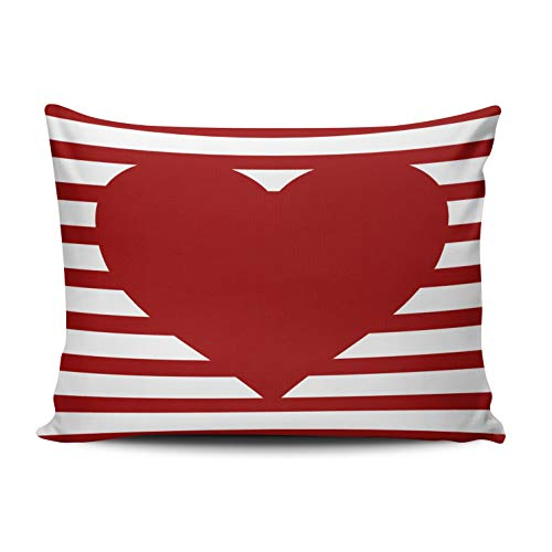 WEINIYA Home Decoration Design Pillow Case Crimson Red Stripes on White Red Heart Throw Pillowcase Custom Cushion Cover Lumbar 12X20 Inches One Sided Printed (Set of 1)